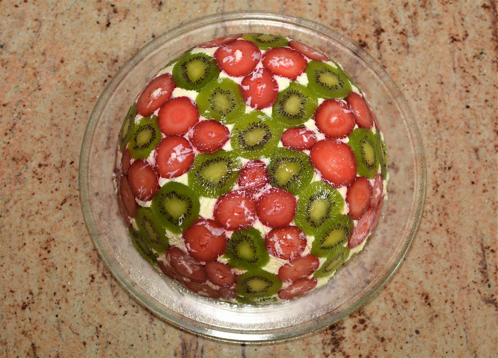 Colorful Strawberry Kiwi Domed Trifle Cake