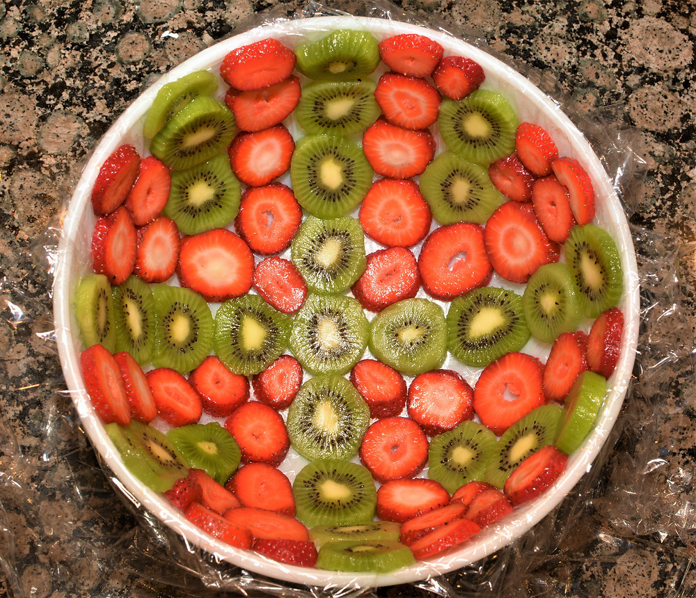 Strawberries and Kiwis Arranged for Strawberry Kiwi Domed Trifle Cake