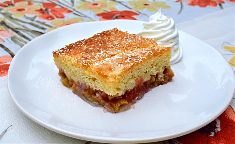 Magical Old-fashioned Sticky Rhubarb Cake with Pudding Sauce