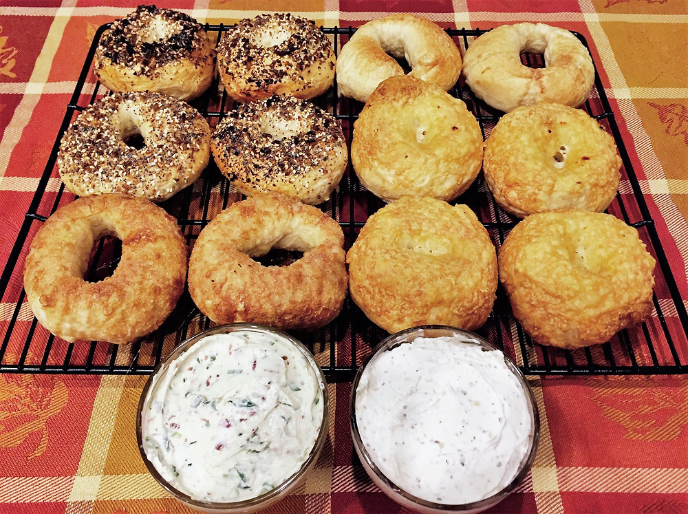 Chewy Homemade Bagels with Cream Cheese