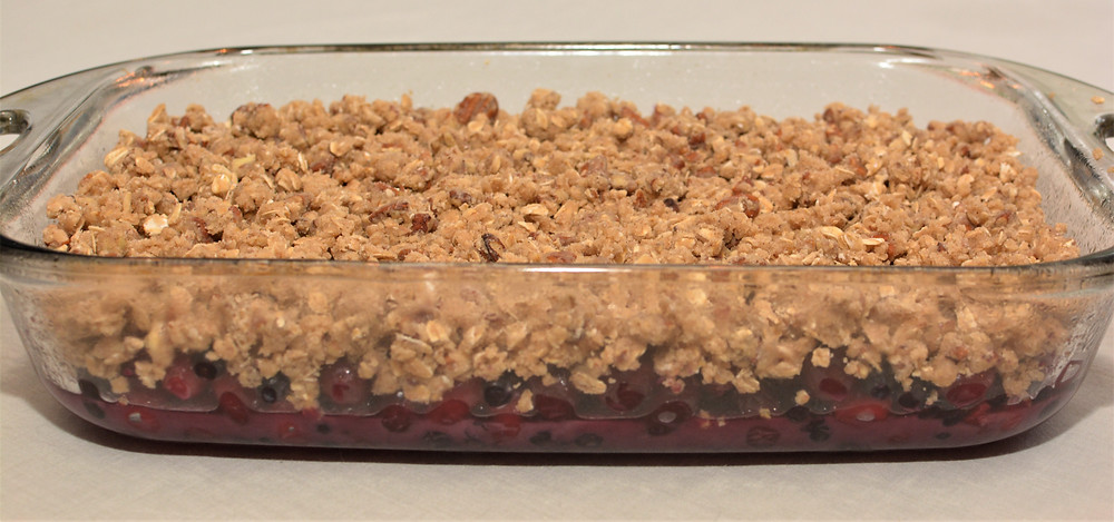 Cranberry Blueberry Maple Crisp with Pecan Streusel
