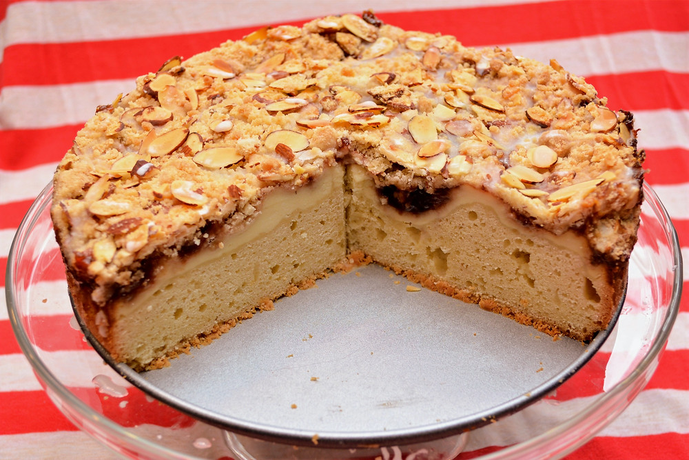 Layered Strawberry and Cream Coffee Cake with Almonds