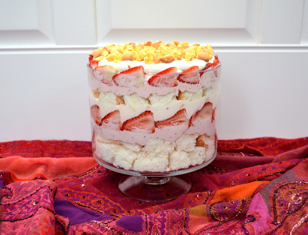 Baileys Strawberries & Cream Angel Food Cake Trifle