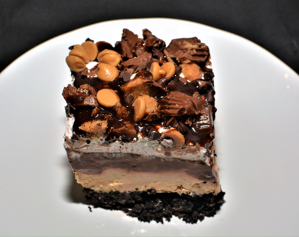 Plated Five Layer Gluten-free Chocolate Peanut Butter Lasagna