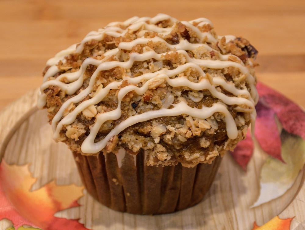 Maple Pecan Pumpkin Muffins with Maple Glaze