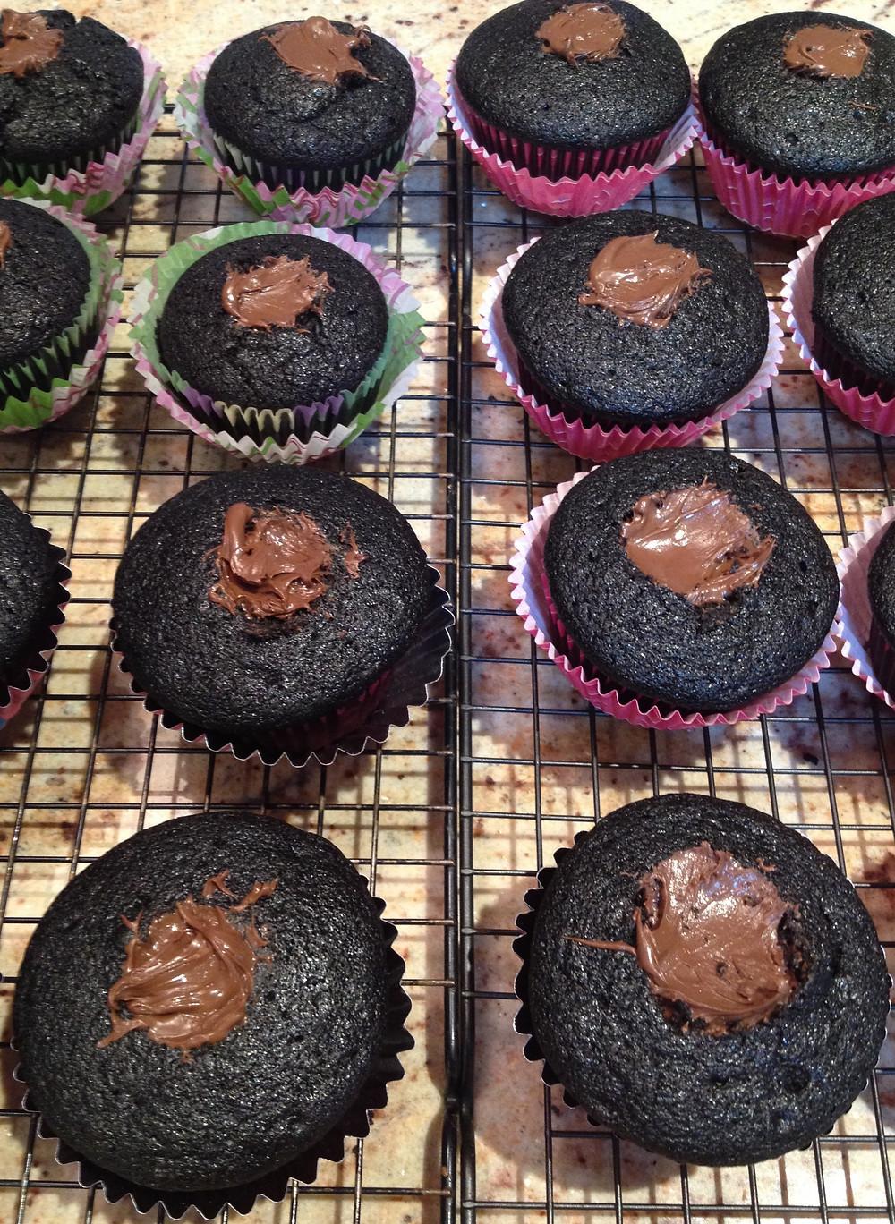 Moist, Creamy Nutella Stuffed Cupcakes with Raspberry Buttercream