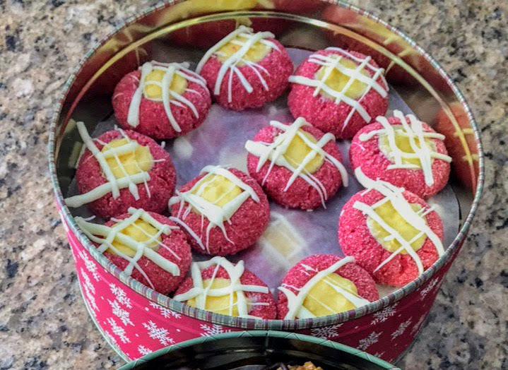 Red Velvet Cheesecake Thumbprint Cookies with Cheesecake Filling