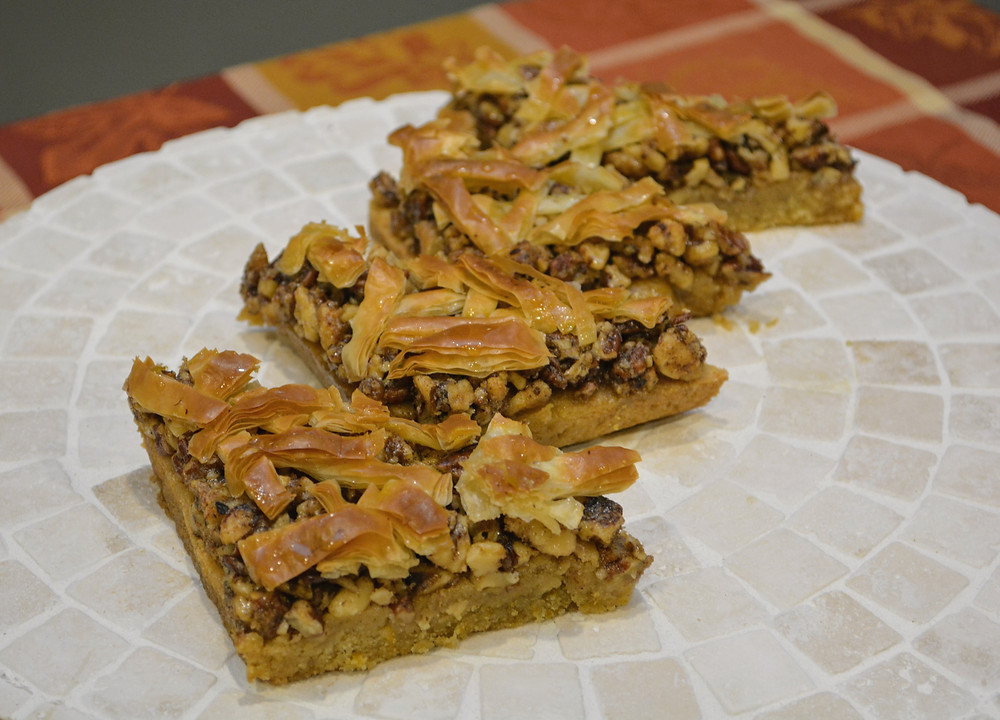 Baklava Cookie Bars with Spiced Pecans and Walnuts