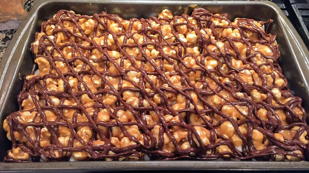 Chewy Chocolate Chip Cookie Caramel Peanut Butter Popcorn Bars