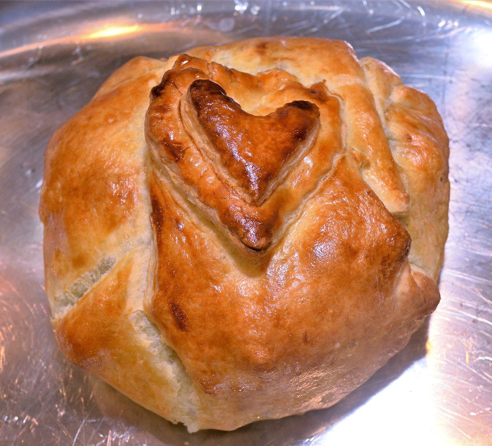 Apricot, Cherry, and Candied Walnut Baked Brie in Flaky Puff Pastry