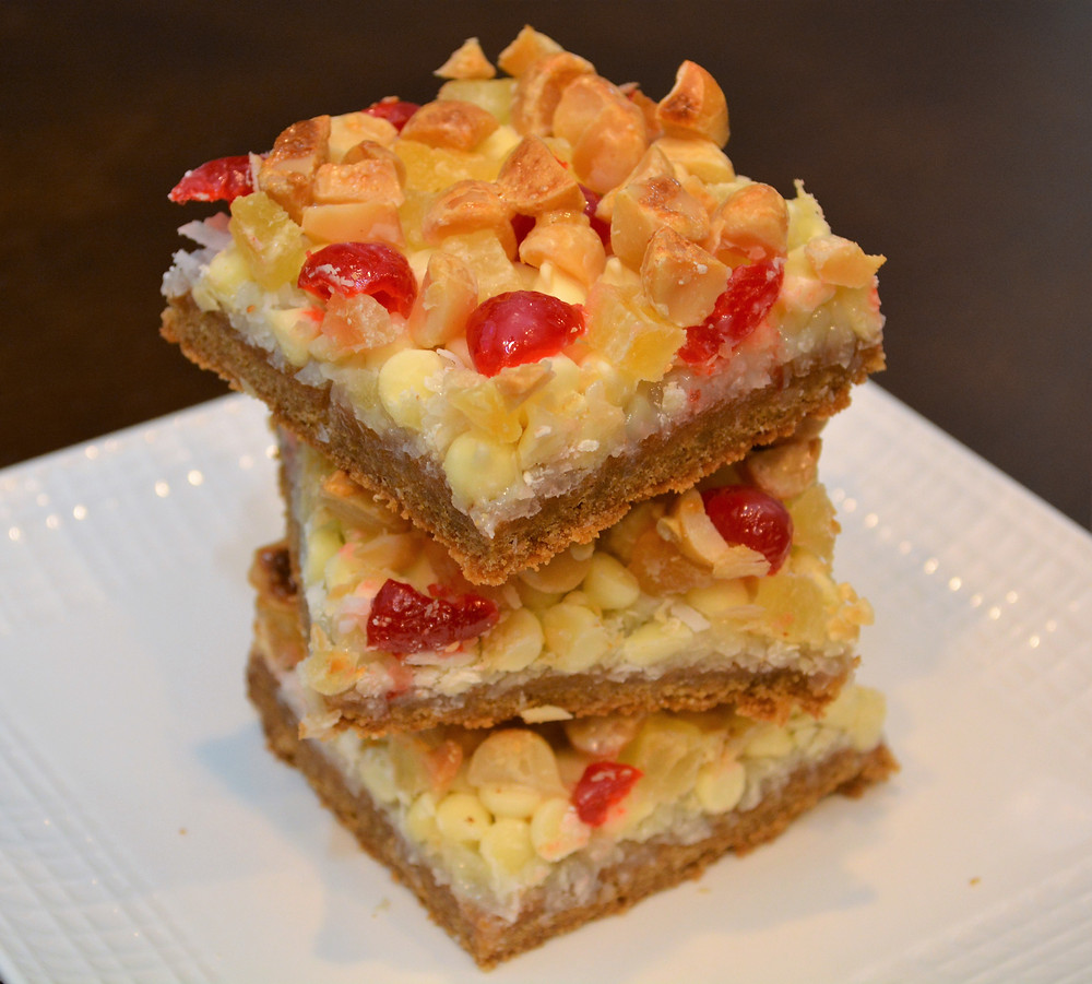 Soft and Chewy Pina Colada Macadamia Cookie Bars