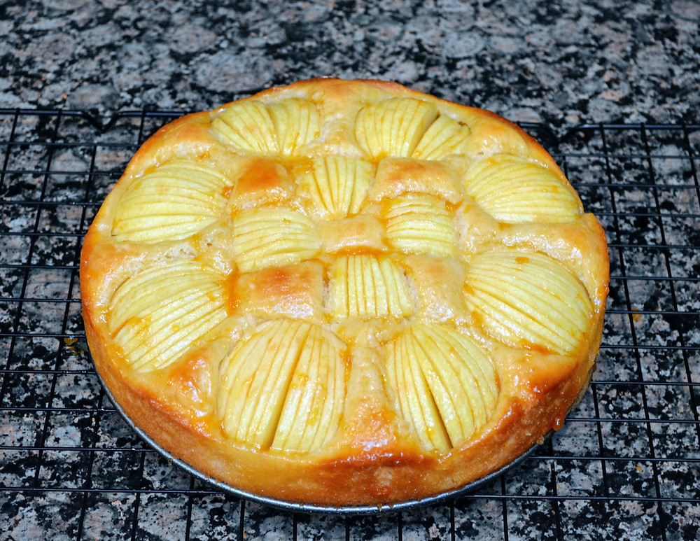 German Apple Cake with Apricot Jam Glaze