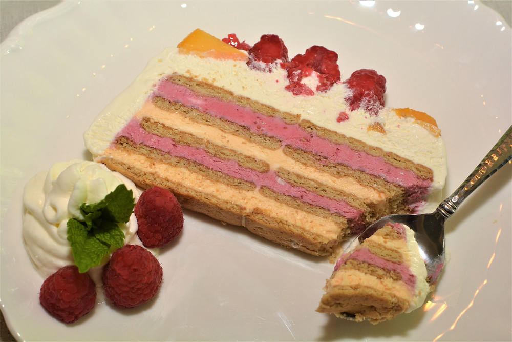 Plated Slice of Refreshing Raspberry Peach Icebox Cake