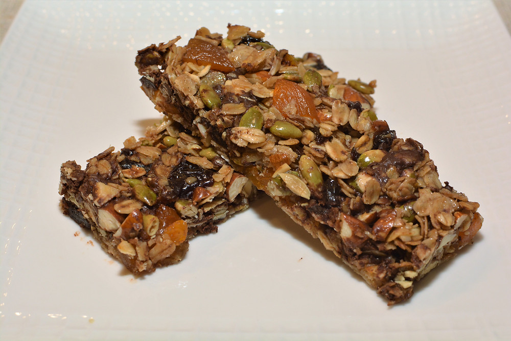 Plated Cherry Apricot Nut and Seed Granola Bars with Dark Chocolate