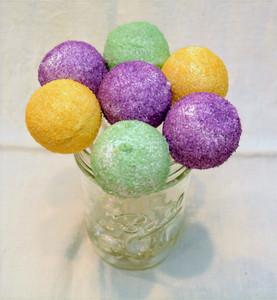 Beautiful Mardi Gras Cinnamon Pecan Vanilla Cake Pops with Sprinkles