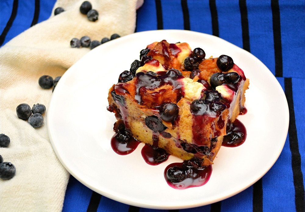 Blueberries and Cream French Toast Casserole with Blueberry Sauce