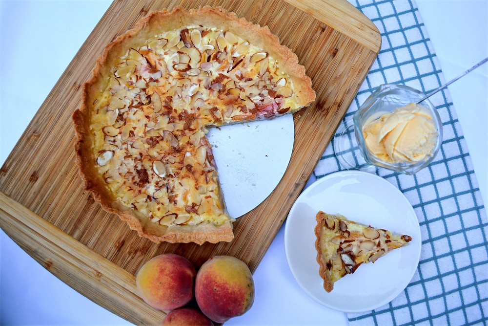 Peaches & Cream Tart with Almond Crust