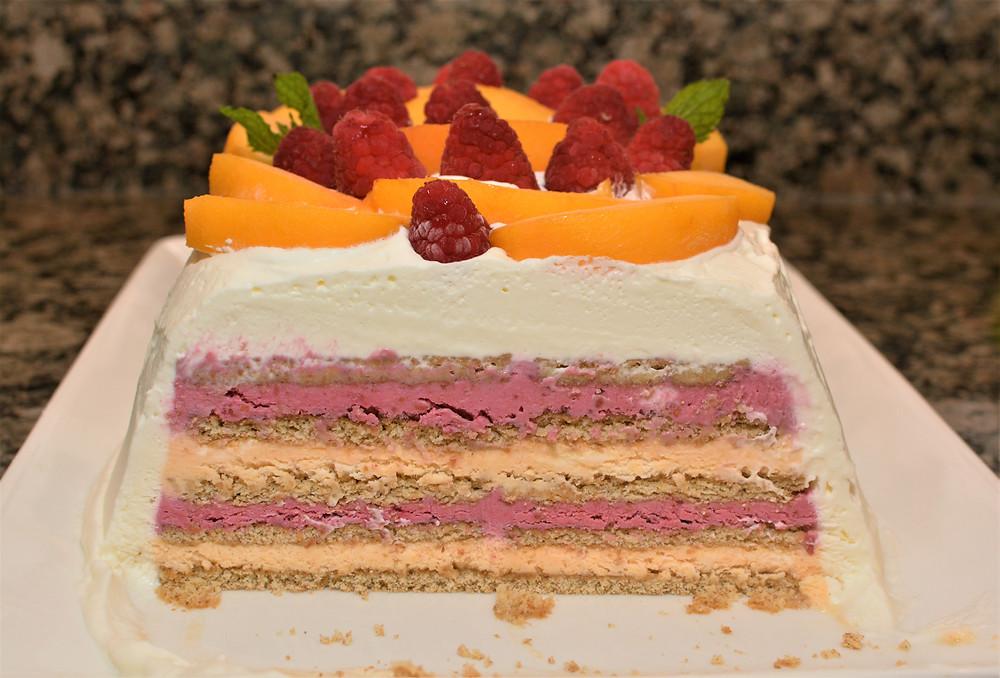 Raspberry Peach Icebox Cake Layered with Graham Crackers