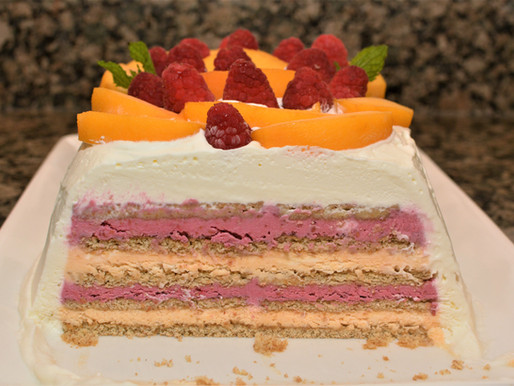 Raspberry Peach Icebox Cake