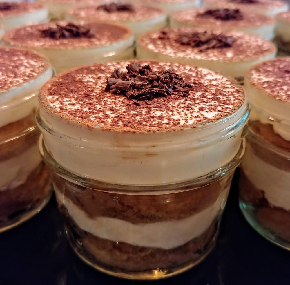 Individual Bailey's Tiramisu Parfaits with Chocolate Shavings