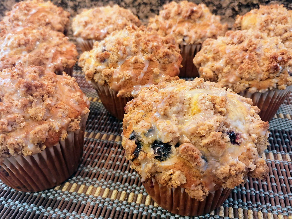 Spiced Blueberry Peach Yogurt Muffins with Cinnamon Brown Sugar Crumble