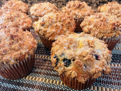 Spiced Blueberry Peach Yogurt Muffins