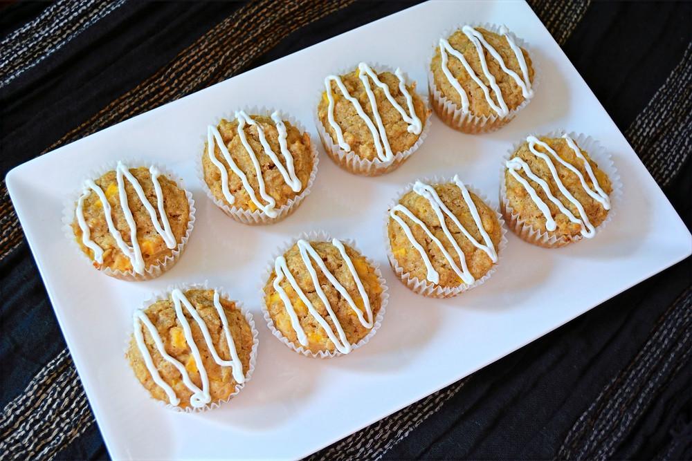 Mango Oatmeal Ruffin' Muffins with Honey Yogurt Glaze