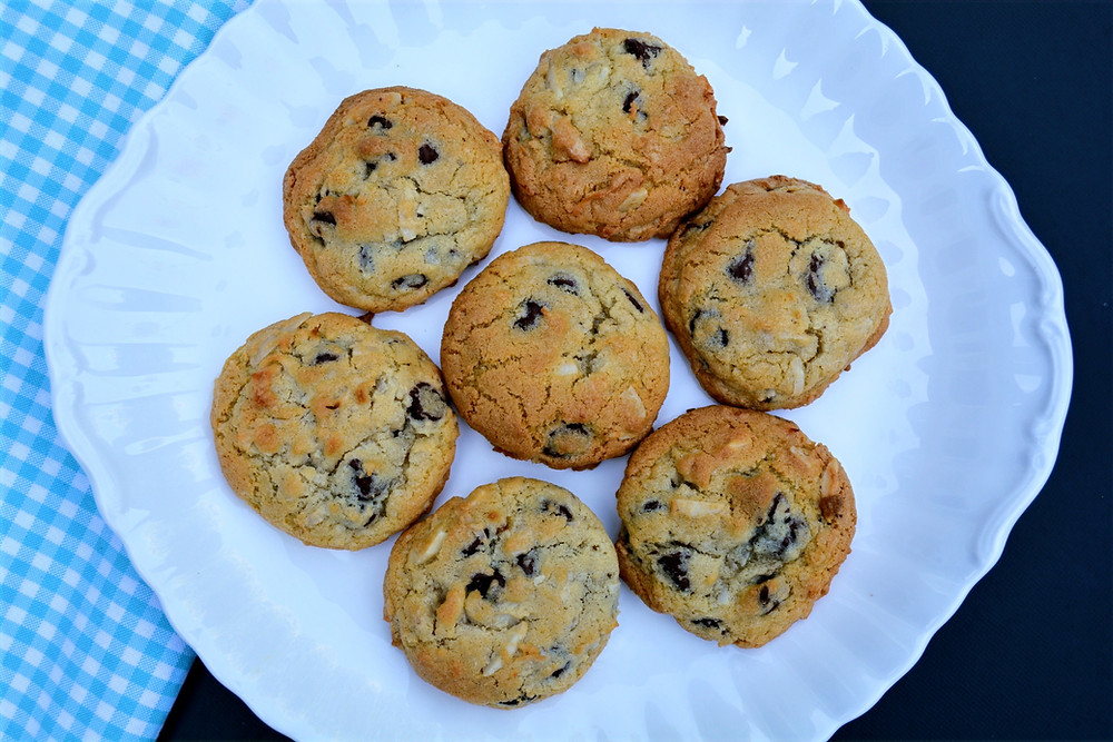 Chocolate Chip Cookies with Almonds and Coconut