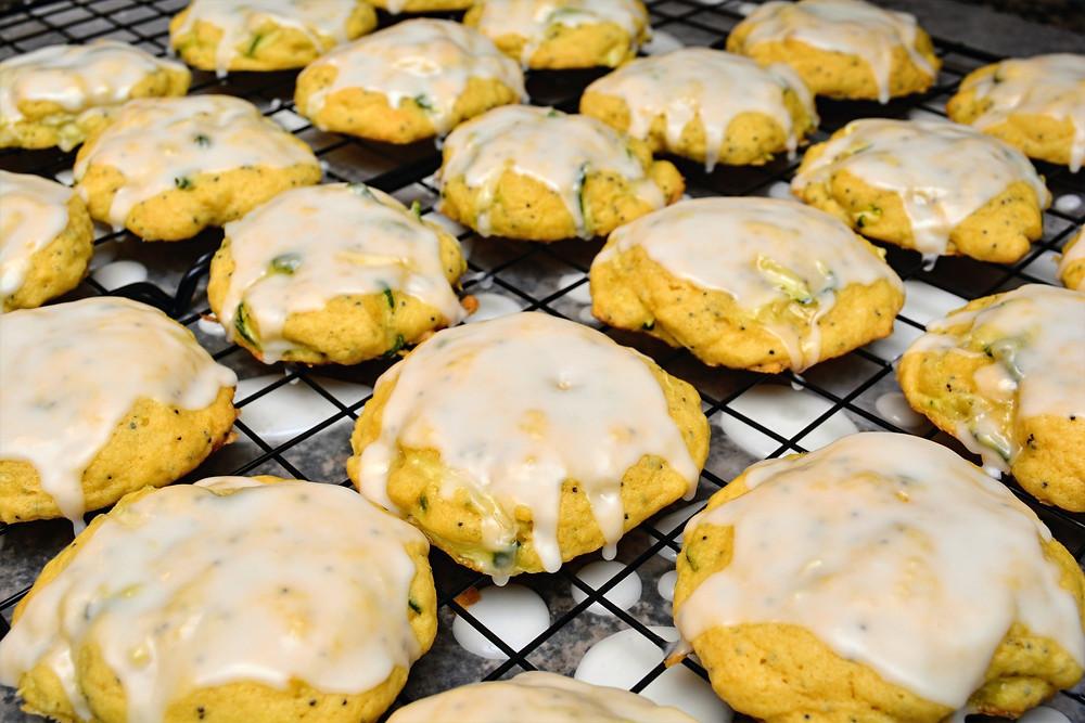 Lemon Poppy Seed Zucchini Cookies with Lemon Glaze