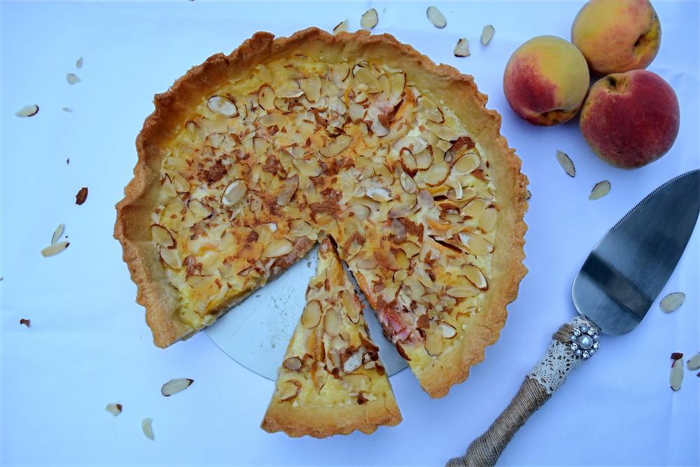 Fresh Peach Almond Tart with Custard Filling