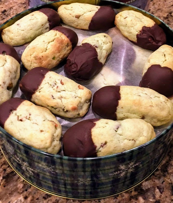 Soft and Delicate Chocolate Dunked Pistachio Cookies