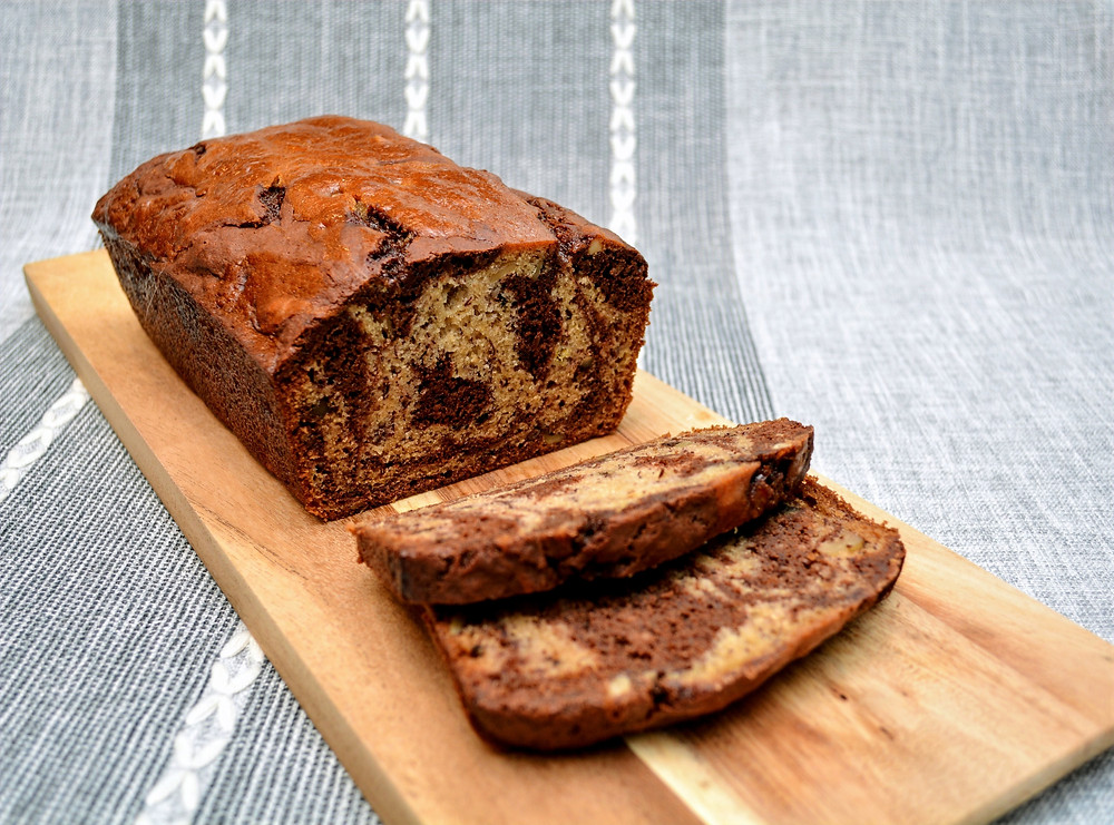 Easy Chocolate Marbled Banana Bread