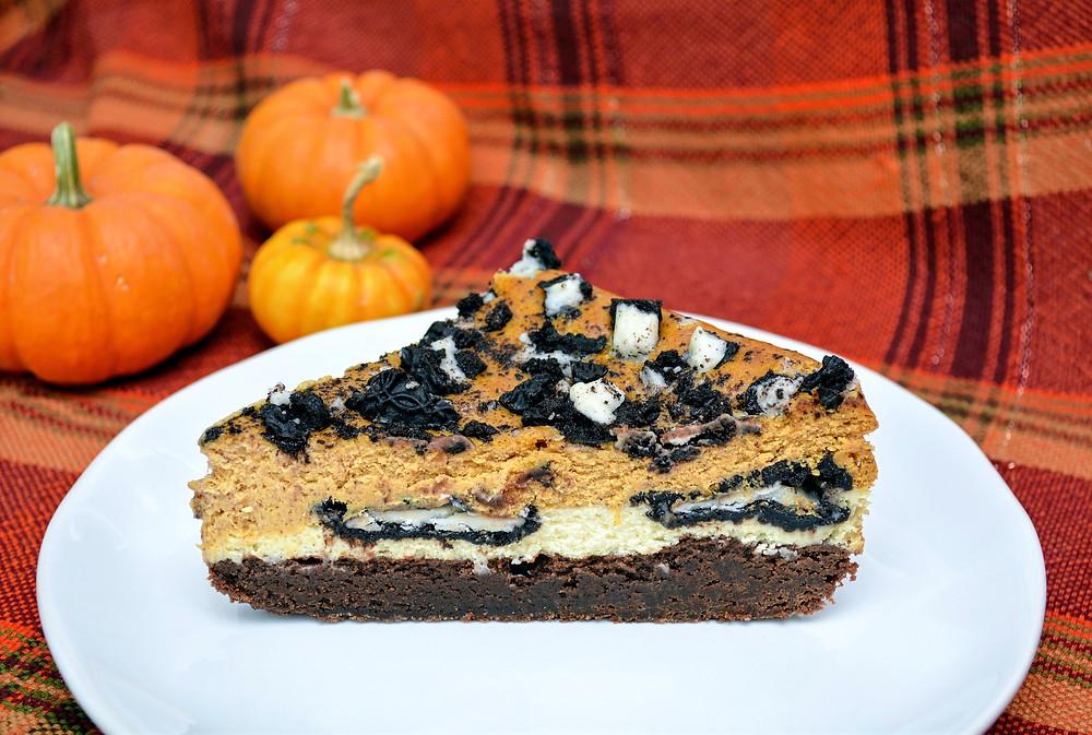 Ultra-fudgy Gluten-free Pumpkin Cheesecake Brownies