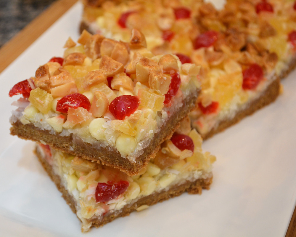 Pina Colada Macadamia Cookie Bars with Coconut, Pineapple, and Cherry