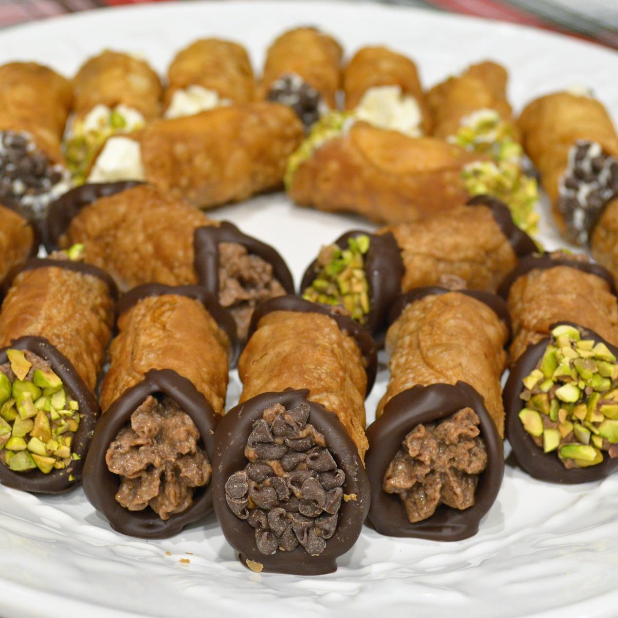 Homemade Italian Cannolis with Chocolate Ricotta Filling