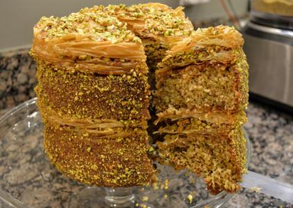 Slice of Pistachio Baklava Cake