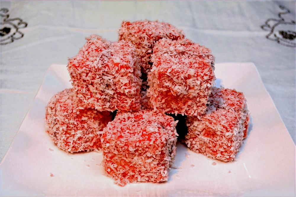 Plated Strawberry Coconut Lamingtons with Jam Filling