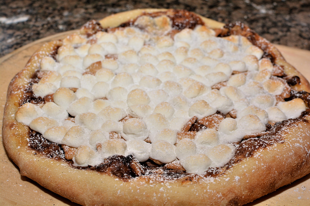 S'mores Pizza dusted with Powdered Sugar