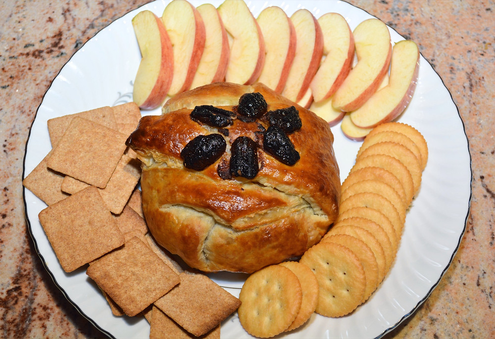 Maple Pumpkin Baked Brie Served with Apples and Crackers