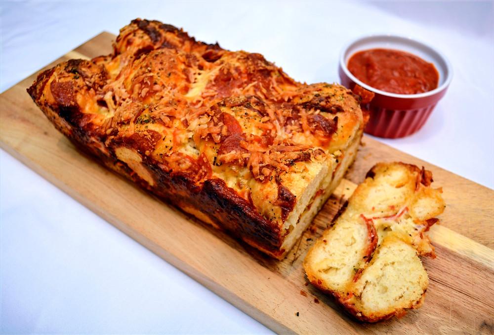 Pepperoni Pizza Bread with Marinara Sauce