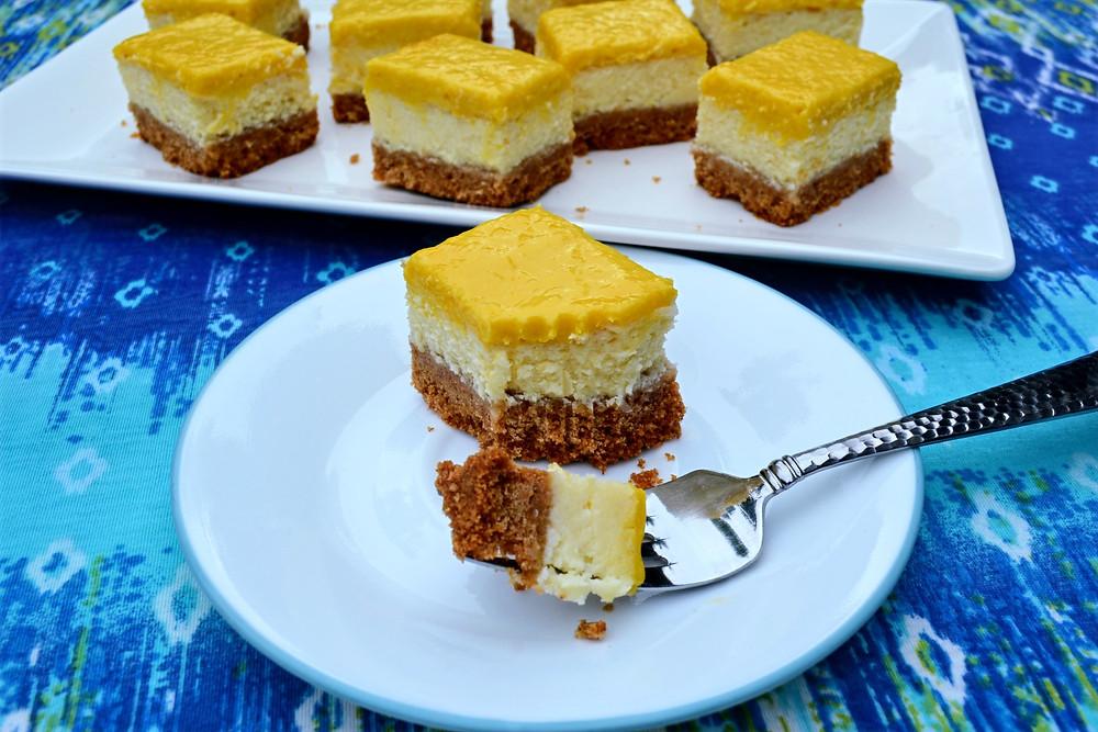 Creamy Mango Coconut Cheesecake Bars