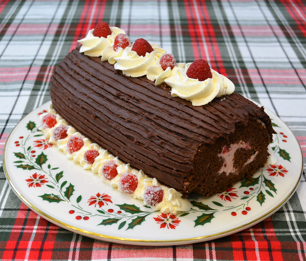 Cran-raspberry Yule Log Swiss Roll Cake