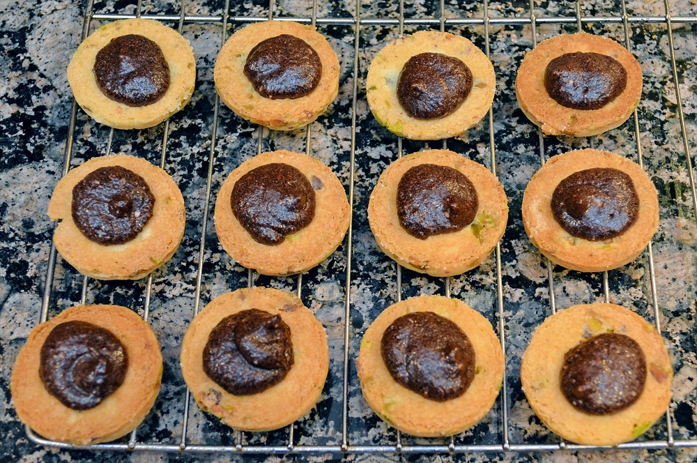 Dark Chocolate Pistachio Shortbread Cookie with filling