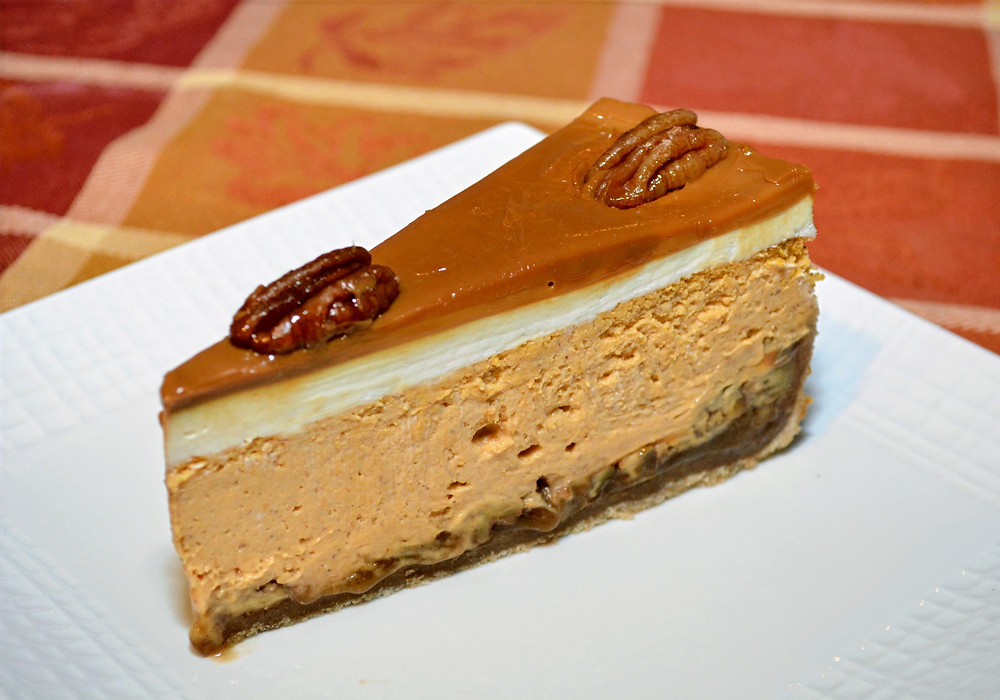 Slice of Caramel Pecan Pie Pumpkin Cheesecake