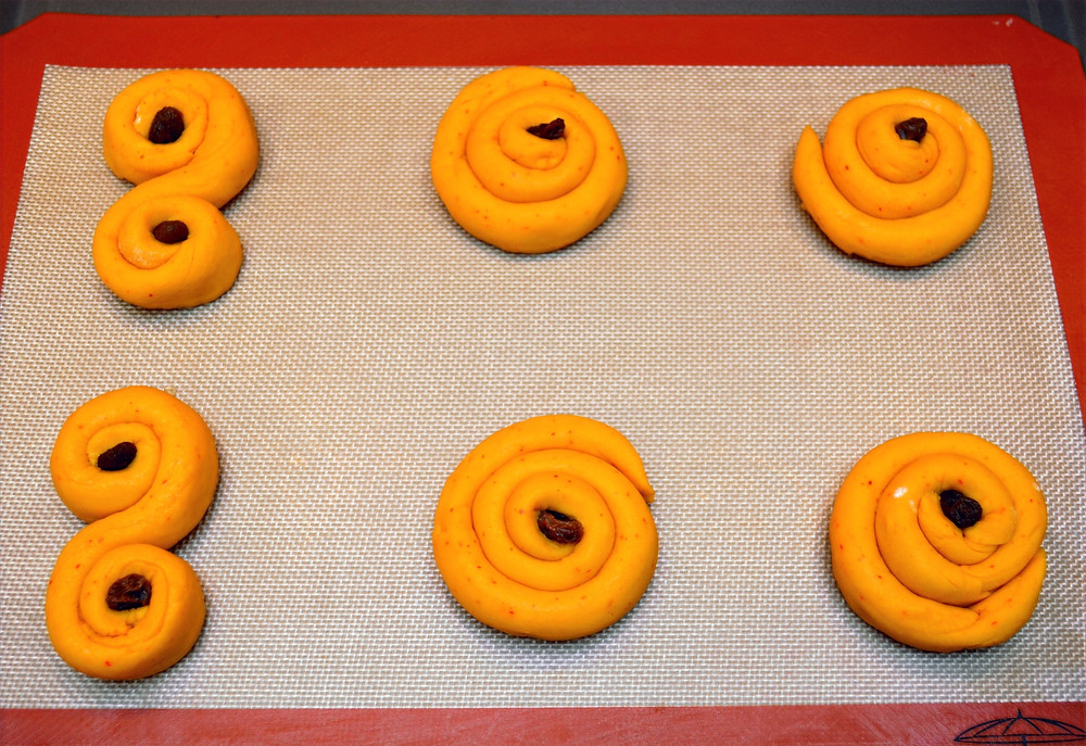 Swedish Saffron Bun dough in spiral shape