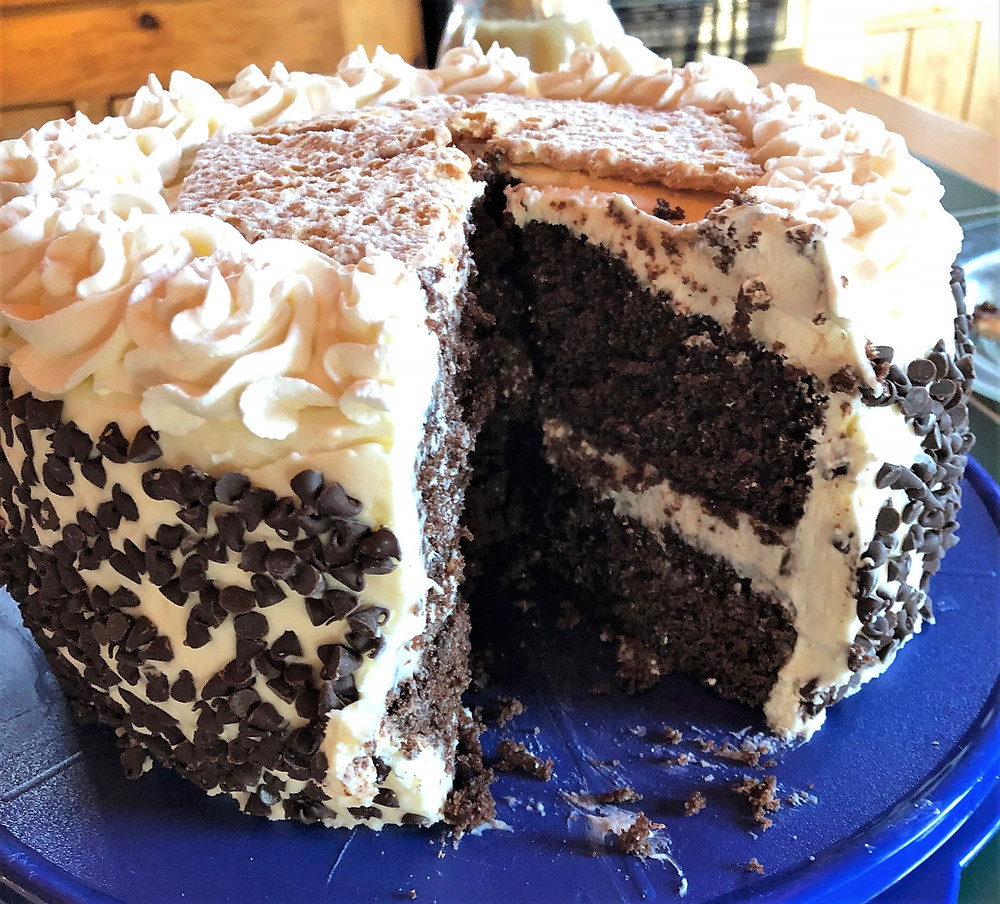 Rich and Moist Chocolate Cannoli Cake