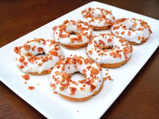 Peanut Butter Bacon Doggie Donuts with Honey Yogurt Glaze