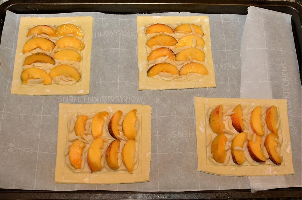 Fresh Peach Danishes with Honey Vanilla Mascarpone and Almonds