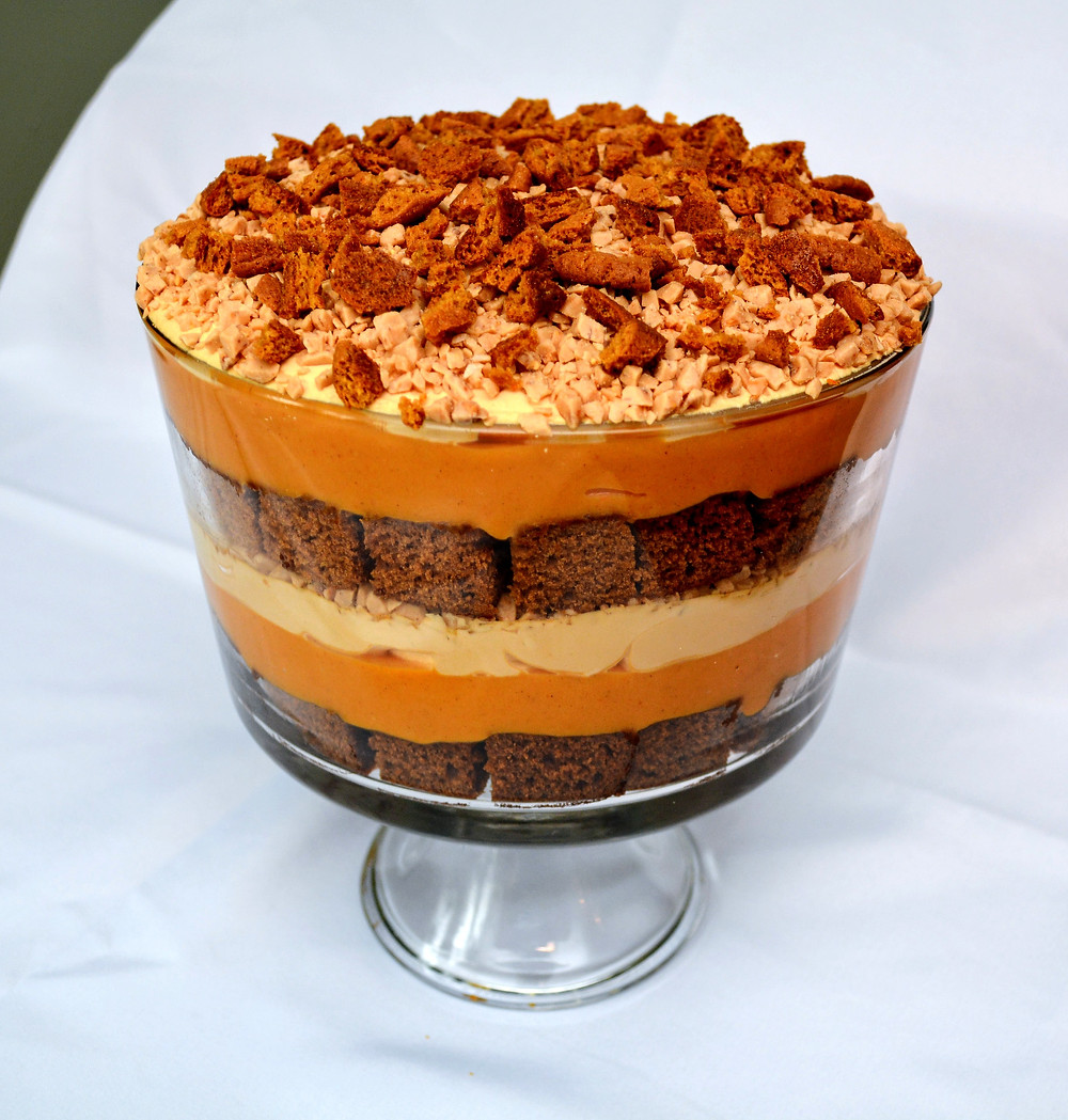 Pumpkin Gingerbread Toffee Crunch Trifle with Gingersnaps