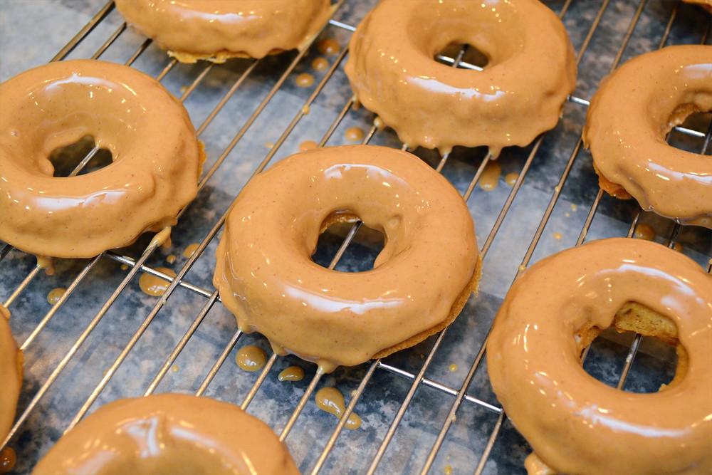 Sweet Potato Apple Doggie Donuts with Peanut Butter glaze